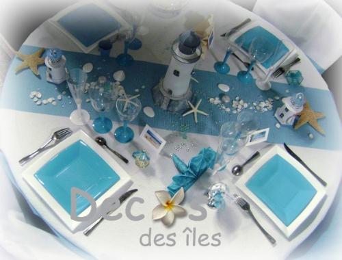 D corations mariage en turquoise et blanc for Decoration sur la mer