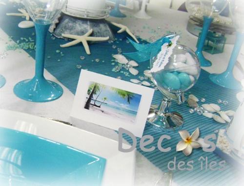 D corations mariage en turquoise et blanc - Decoration table mariage theme voyage ...