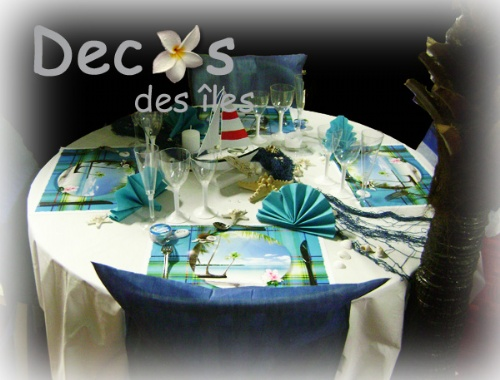 D corations madras avec set de table madras turquoise for Decoration de table bleu turquoise