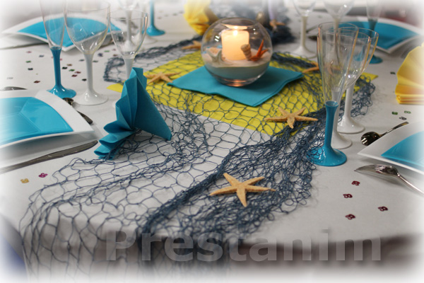Decoration theme mer anniversaire table de lit - Deco table mer ...