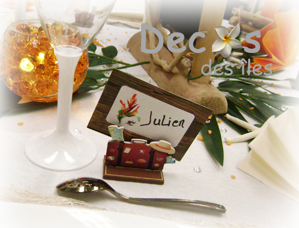 D coration mariage orange blanc exotique for Decoration de table porte photo