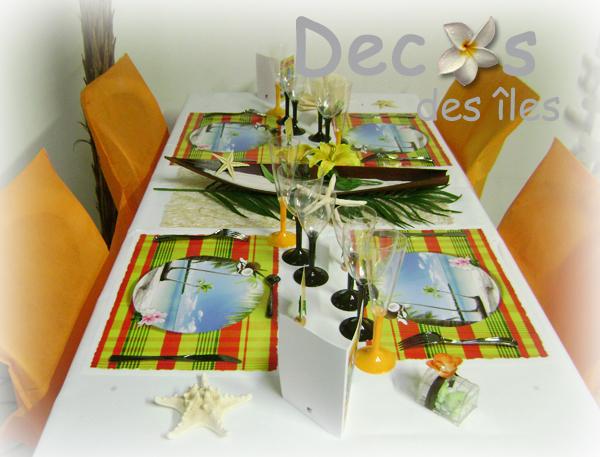 D coration set de table madras jaune rouge decos des for Decoration antillaise