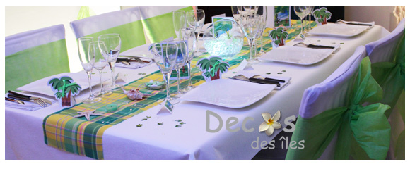 deco anniversaire mariage madras antillais anis jaune. Black Bedroom Furniture Sets. Home Design Ideas