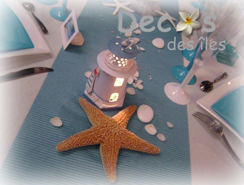 Décorations table mariage mer turquoise