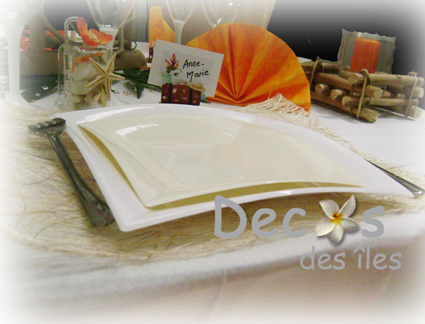 Décoration Mariage Orange Blanc Exotique
