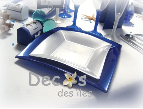 D coration de mariage th me mer et nacre for Deco bleu marine et blanc