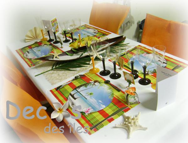 D coration set de table madras jaune rouge decos des for Set de table jaune