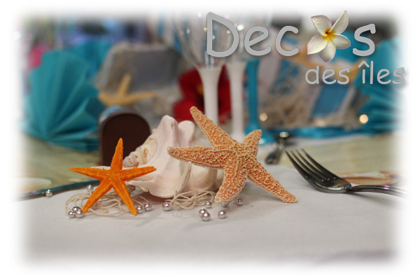 D coration table de mariage th me sable et coquillages for Decoration sur la mer