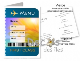 Menu billet d'avion