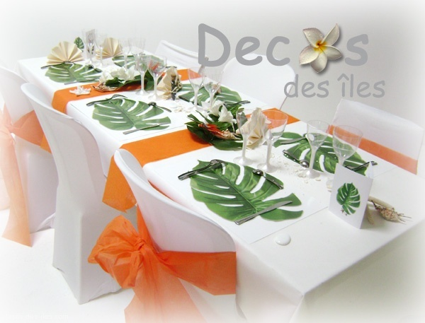 set de table feuille exotique - Deco Table Exotique