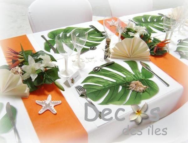 set de table feuille exotique set de table feuille exotique - Deco Table Exotique